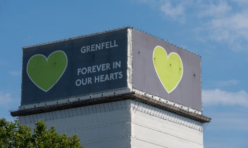 Forever in our hearts support banner on the Grenfell tower, August 2019. Photo: © Alex Danila/Dreamstime