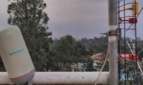 Photograph of technology device branded Safaricom, a listed Kenyan mobile network operator headquartered at Safaricom House in Nairobi, Kenya
