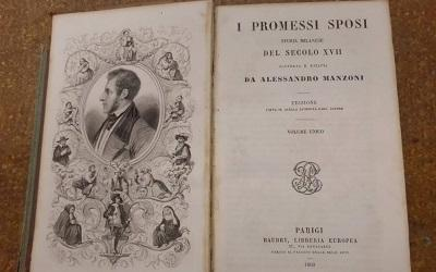 Image shows the opening page of Alessandro Manzoni's I promessi sposi