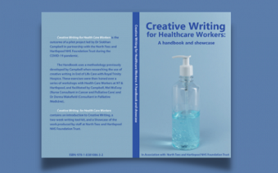 The cover of the new handbook is shown. It is blue with an image of hand sanitiser on the front