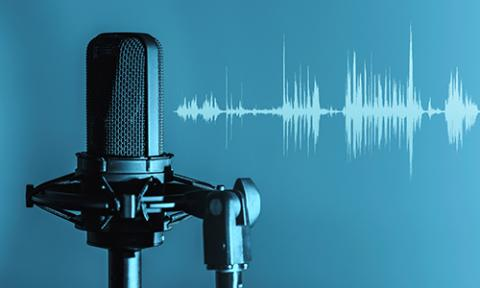 Graphical image of a microphone with soundwaves