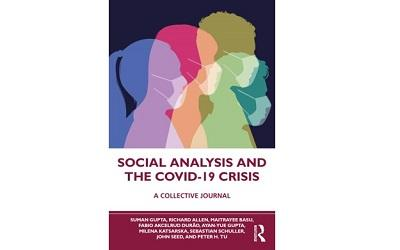 Image shows the front cover of the new book Social Analysis and the COVID-19 Crisis. It shows images of faces with masks on