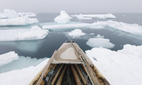 Umiaq and north wind during spring whaling by Kiliii Yuyan